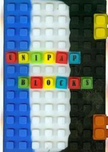Notes silikonowy A5 Unipap Blocks w kratk� 100 kartek niebiesko-bia�o-czarny - 2825842859