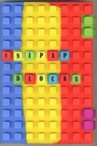 Notes silikonowy A5 Unipap Blocks w kratkę 100 kartek niebiesko-żółto-czerwony - 2825842860