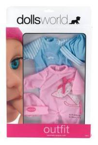 Zestaw 2 ubranek dla lalek różowy/niebieski - 2857735868