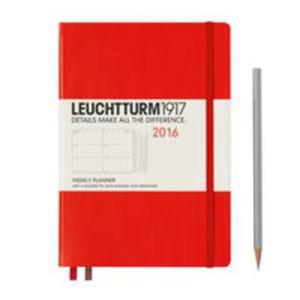 Kalendarz Leuchtturm1917 tygodniowy 2016 Medium czerwony - 2853586265