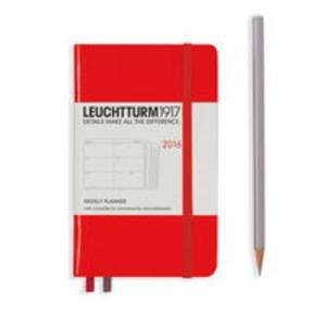 Kalendarz Leuchtturm1917 tygodniowy 2016 Pocket czerwony - 2825884979