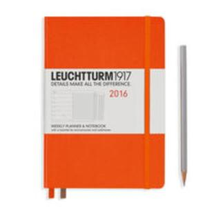 Kalendarz Leuchtturm1917 tygodniowy 2016 z notatnikiem Medium pomarańczowy - 2825885279