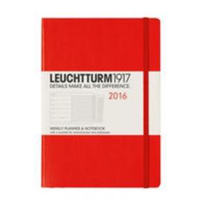 Kalendarz Leuchtturm1917 tygodniowy 2016 z notatnikiem Medium czerwony - 2825885288