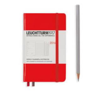 Kalendarz tygodniowy 2016 z notatnikiem Pocket czerwony - 2825885303