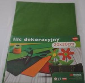 F42 - Filc w arkuszach 20cm x 30cm. Kolor zielony 5 sztuk - 2857772794