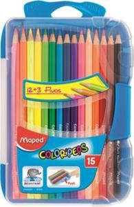 Kredki Colorpeps trójkątne 12 sztuk + 3 sztuki Fluo - 2857809147
