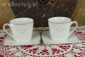 Porcelanowe filiżanki do kawy i herbaty z kwadratowym spodkiem komplet 2 sztuk Veroni - 2883512654