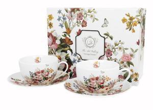 Dwie filiżanki do kawy/ białe filiżanki w kwiaty - 2902509490