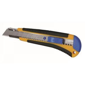 Dedra Nóż 18 mm ostrze 1 + 1 zapas do papieru i kartonu, zatrzask, uchwyt gumowy. M9015 - 2835889357