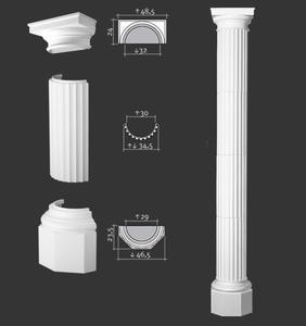 Półkolumna segmentowa, sztukateria Orac Decor, kolekcja Orac Luxxus - 4x K4001 + K4131 + K4121 - 2411677962