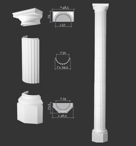 Półkolumna segmentowa, sztukateria Orac Decor, kolekcja Orac Luxxus - 5xK4001 + K4131 + K4121 - 2411677964