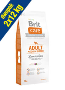 BRIT CARE ADULT MEDIUM BREED LAMB & RICE 2x12 kg - 2850213852