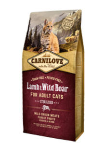 BRIT CARNILOVE CAT STERILISED JAGNIĘCINA I DZIK KARMA DLA KOTA 6 kg - 2849794037