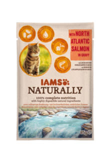 IAMS CAT NATURALLY MOKRA KARMA DLA KOTA - z łososiem atlantyckim 85 g - 2857031954