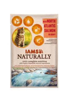 IAMS CAT NATURALLY MOKRA KARMA DLA KOTA - z łososiem atlantyckim 12x85 g - 2857032098