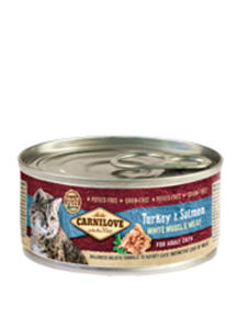 BRIT CARNILOVE CAT MOKRA KARMA DLA KOTA - z indykiem i łososiem 12x100 g - 2858001388