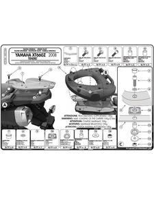 Stelaż z płytą montażową pod kufer centralny Monolock do Yamaha XT 660Z Teneré (08 > 16) - 2832669548
