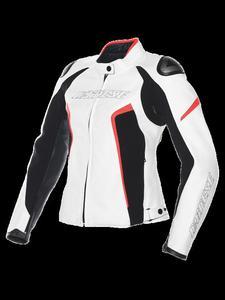 Kurtka skórzana Dainese G. RACING D1 PELLE LADY - white/black/fluo-red - 2832675053