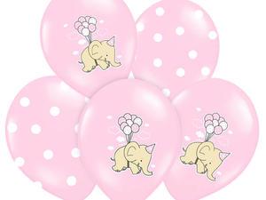 """Balony z nadrukiem dla dziewczynki """"Słonik"""" - 37 cm - 5 szt. - 2858117713"""