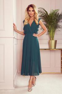 315-1 EMILY Plisowana sukienka z falbankami i dekoltem - BUTELKOWA ZIELE - 2859265450