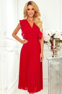 315-3 EMILY Plisowana sukienka z falbankami i dekoltem - CZERWONA - 2863188705