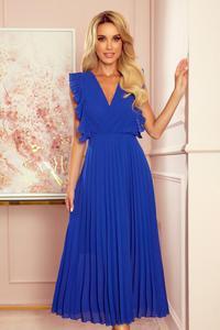 315-2 EMILY Plisowana sukienka z falbankami i dekoltem - CHABROWA - 2859265503
