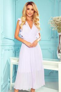 315-4 EMILY Plisowana sukienka z falbankami i dekoltem - WRZOS - 2859265560