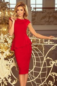 192-5 Elegancka sukienka MIDI z baskinką - CZERWONA - 2874968906