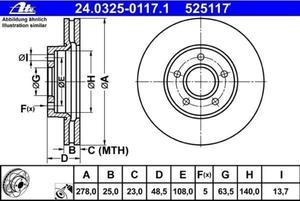 tarcza hamulcowa ATE - przód 278mm - 2829830000