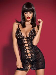 Obsessive Bride koszulka i stringi czarna - z koronkowym rozcięciem - Koszulka i stringi - czarne - 2825394438