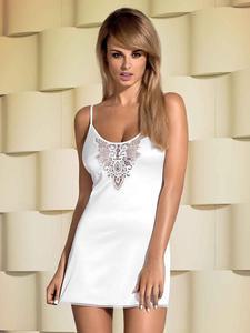 Obsessive Lelia koszulka i stringi - biała koszulka z ażurowym wzorem - 2825394831