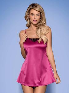 Obsessive Satinia koszulka babydoll i stringi - różowa koszulka z połyskującego materiału - 2835856794