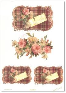 Papier do decoupage Sweet Rose IS 215 Tablety w czerwoną kratkę z bukietami róż i miłosnym bilecikiem - 2850354893