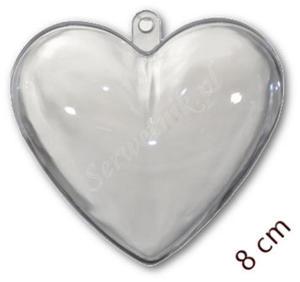 Bombka akrylowa transparentna SERCE 80mm plastikowa - 2850356971