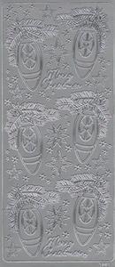 Naklejka Peel-Off A1891s Marry Christmas świerkowe gałązki pięknie ustrojone srebrny - 2850357258