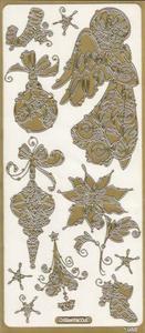 Naklejka Peel-Off A1932z Anioł i ozdoby choinkowe złoty - 2850357278