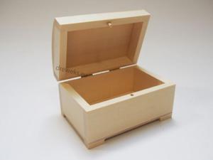 Drewniana elegancka szkatułka z wypukłym wieczkiem (L) S0295/L - 2850357419