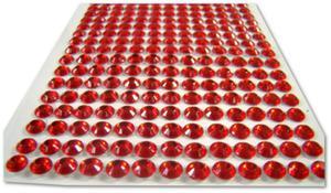 Półperełki samoprzylepne cyrkonie czerwone 6mm 260szt. - 2850357819