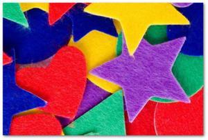 Naklejki z filcu mix kształtów zestaw 100szt AF100 - 2850357866