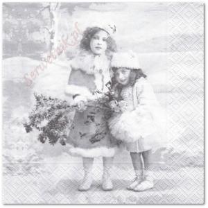 Serwetka do decoupage 3534 Zimowe dziewczynki vintage SVD - 2857848729