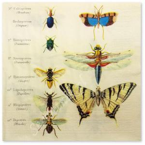 Serwetka do decoupage 3716 Motyle pszczoły żuki i ważki temat to ciekawy i niezmiernie ważki - 2877899589
