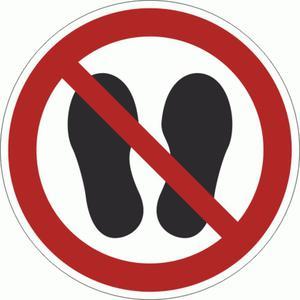 P024-F Znak PODŁOGOWY Nie wchodzić i nie stawać ISO7010  - 2878095495