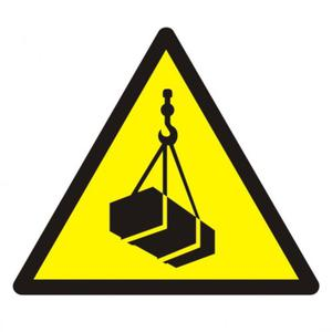 Znak: Ostrzeżenie przed wiszącymi przedmiotami (wiszącym ciężarem) - 2878095728